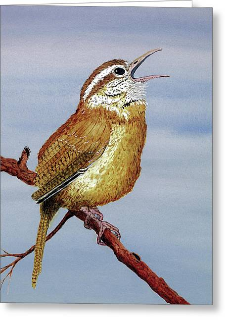 Greeting Card featuring the painting Irate Wren by Thom Glace
