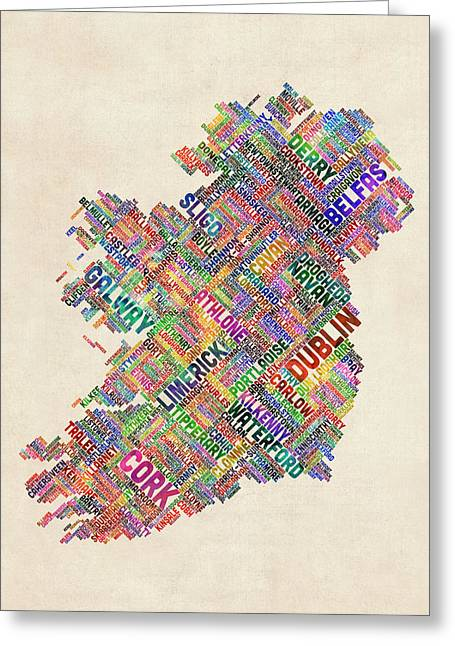 Ireland Eire City Text Map Derry Version Greeting Card by Michael Tompsett