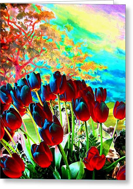 Iridescent Red Tulips Greeting Card by Will Borden