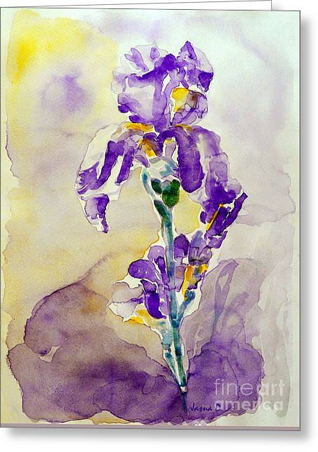 Greeting Card featuring the painting Iris 2 by Jasna Dragun