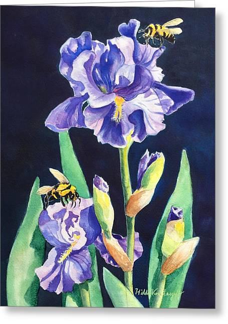 Iris And Bees Greeting Card