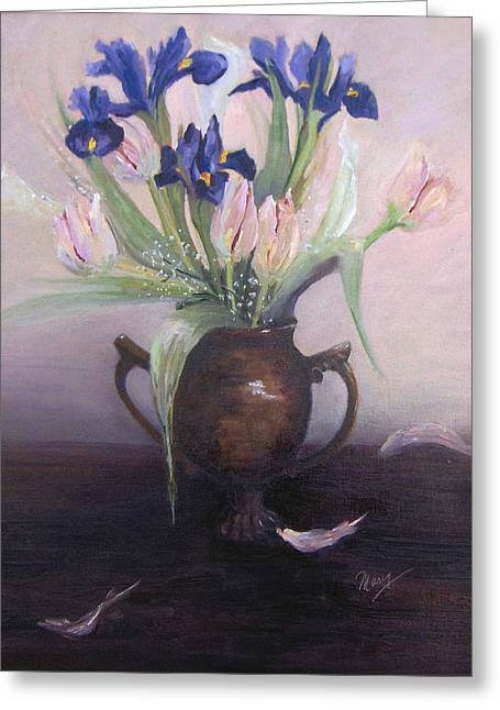 Iris And Tulips Greeting Card by Marcy Silverstein