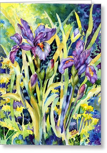Iris Greeting Card by Ann  Nicholson