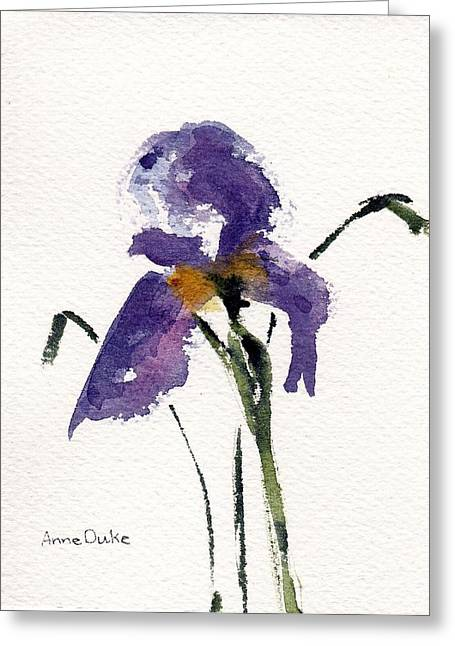 Greeting Card featuring the painting Iris  by Anne Duke