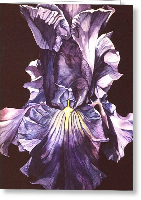 Greeting Card featuring the painting Iris At Night by Alfred Ng