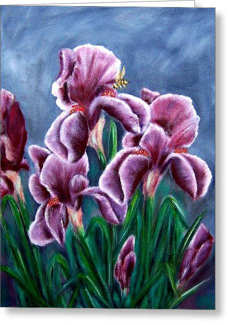 Iris Awakens Greeting Card by Penny Everhart