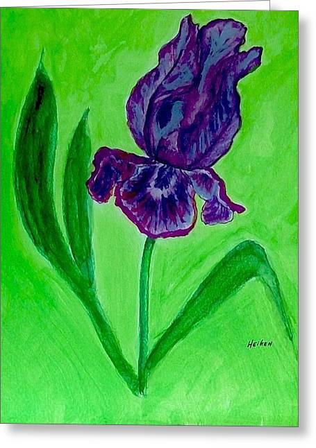 Iris Bloom Greeting Card by Marsha Heiken