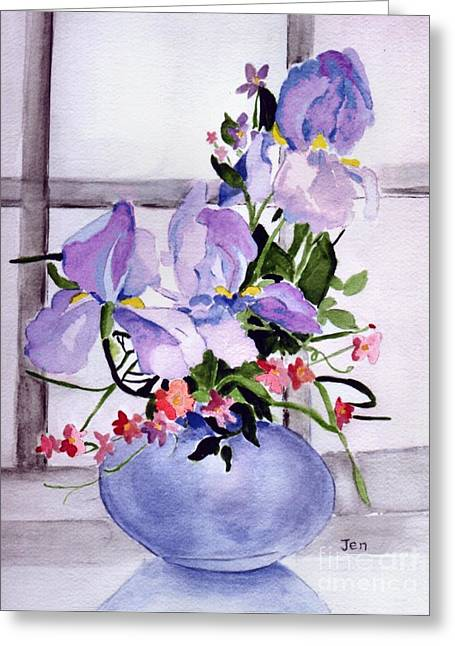 Iris Bouquet Greeting Card by Ann Gordon