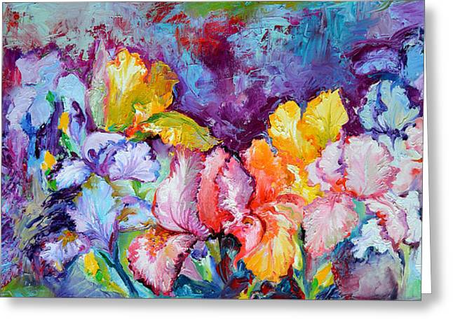 Iris Field, Oil Spring Flowers, Floral Painting Greeting Card