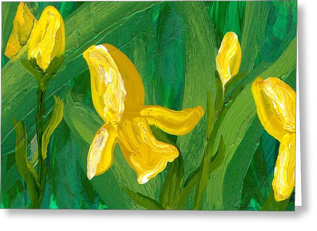 Iris Flow Greeting Card by Wanda Pepin