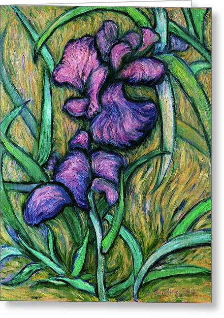 Greeting Card featuring the painting Iris For Vincent - Contemporary Fauvist Post-impressionist Oil Painting Original Art On Canvas by Xueling Zou