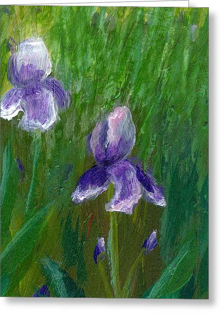 Iris Garden Greeting Card by Wanda Pepin