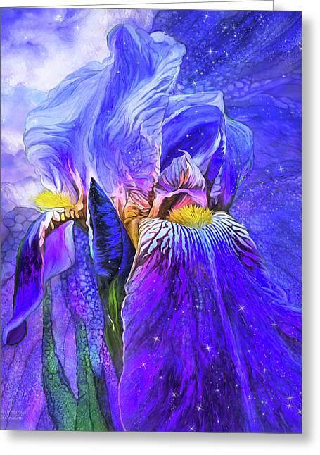 Greeting Card featuring the mixed media Iris - Goddess Of Starlight by Carol Cavalaris