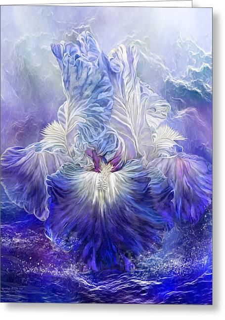 Greeting Card featuring the mixed media Iris - Goddess Of The Sea by Carol Cavalaris