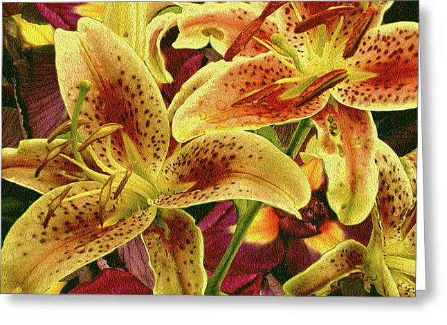 Iris Grounded Lilies 5 Greeting Card