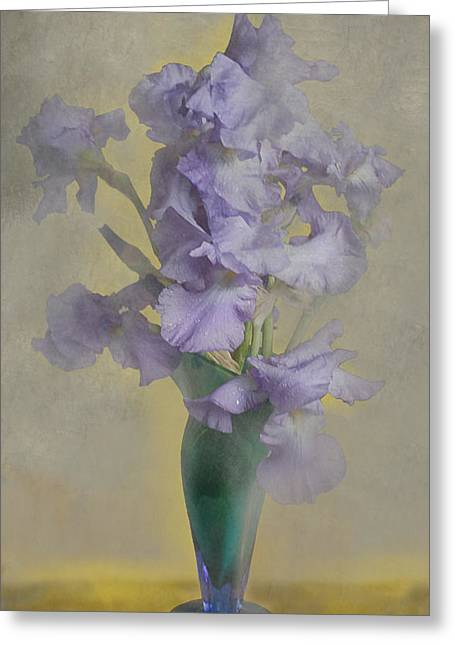 Iris In A Vase Greeting Card by Jeff Burgess