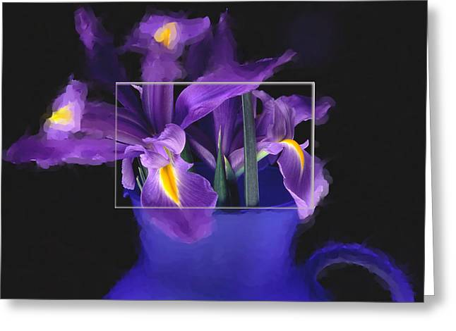 Iris In Blue Picture Greeting Card by Daniel D Miller