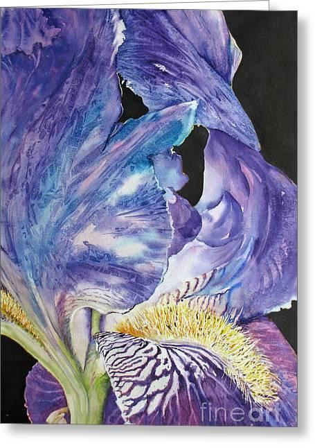 Iris-in-focus Greeting Card by Nancy Newman