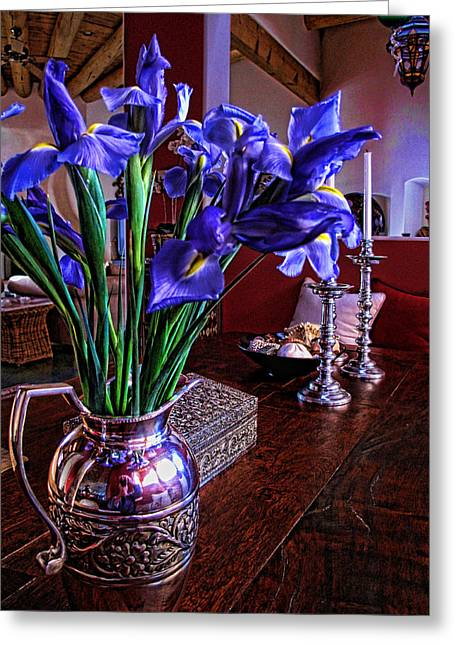 Greeting Card featuring the photograph Iris In Silver Pitcher by Paul Cutright