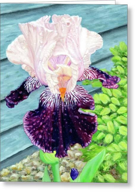 Iris In The Spring Rain Greeting Card