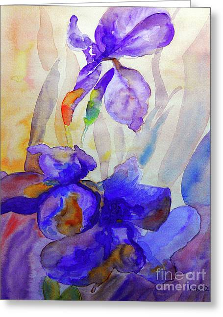 Greeting Card featuring the painting Iris by Jasna Dragun