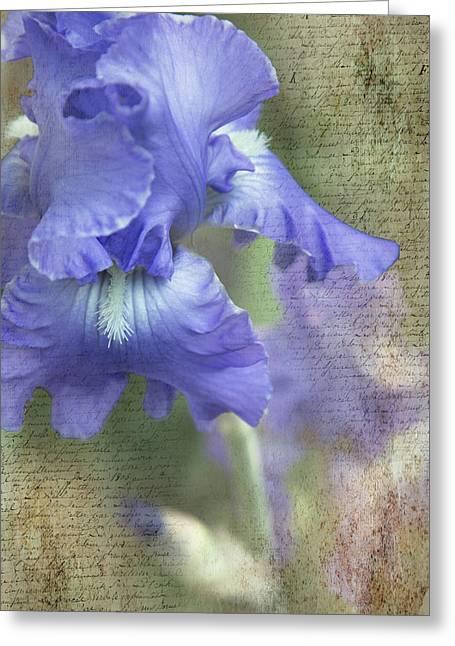 Iris Memories Greeting Card by Angie Vogel