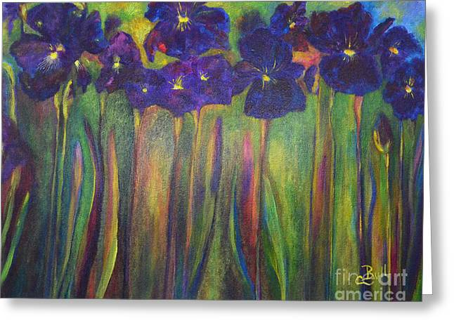 Iris Parade Greeting Card by Claire Bull