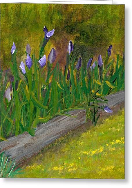 Iris Procession Greeting Card by Wanda Pepin