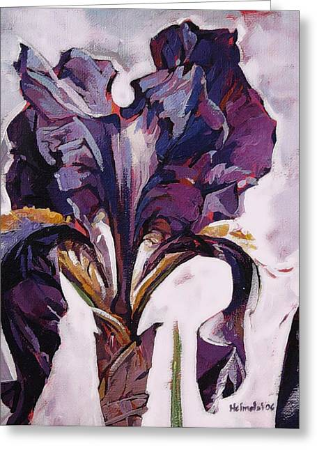 Greeting Card featuring the painting Iris Spring by Tim  Heimdal
