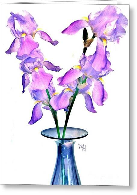 Greeting Card featuring the digital art Iris Still Life In A Vase by Marsha Heiken