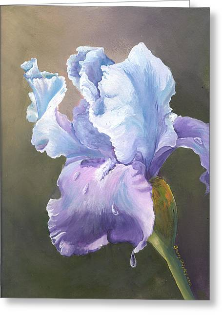 Greeting Card featuring the painting Iris Tears by Sherry Shipley