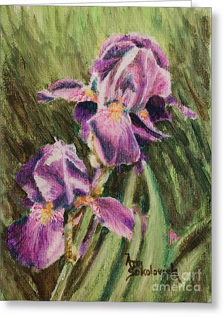Sokolovich Paintings Greeting Cards - Iris Twins Greeting Card by Ann Sokolovich