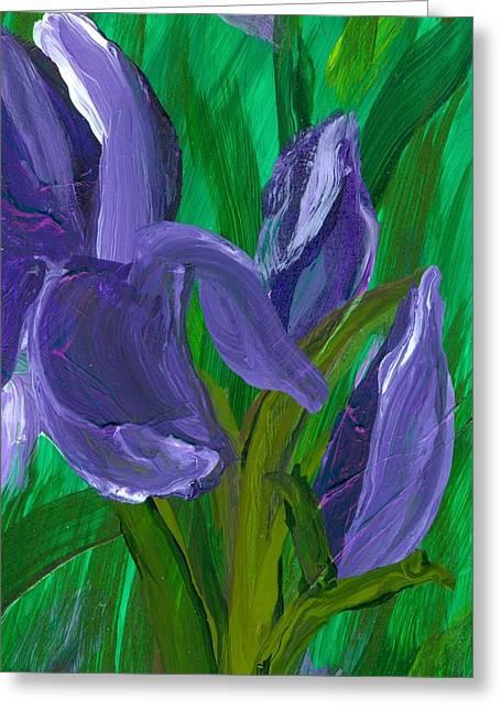 Iris Up Close And Personal Greeting Card by Wanda Pepin