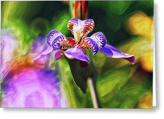 Greeting Card featuring the digital art Iris Versicolor by Doctor Mehta