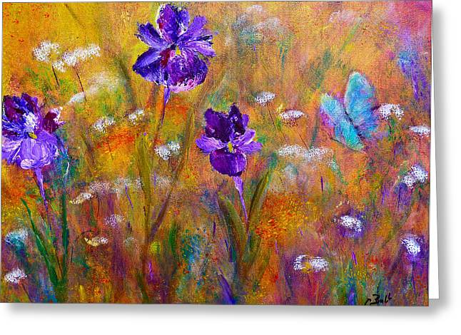 Iris Wildflowers And Butterfly Greeting Card by Claire Bull
