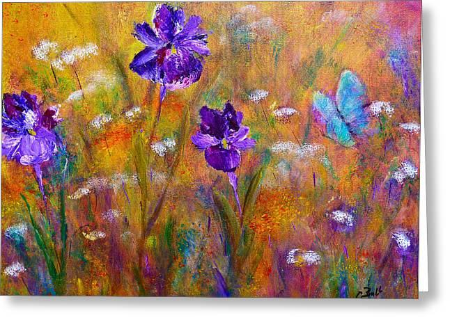 Claire Bull Greeting Cards - Iris Wildflowers and Butterfly Greeting Card by Claire Bull