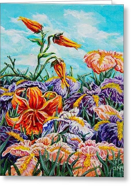 Iris With Daylily Greeting Card