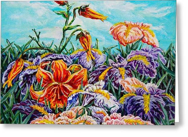 Iris With Daylily Greeting Card