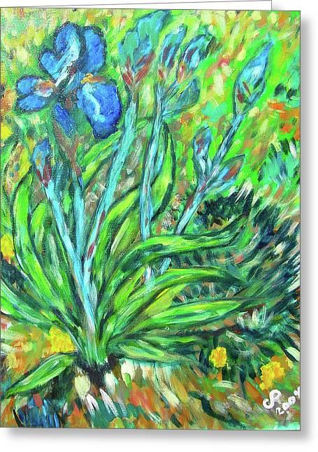 Irises Ala Van Gogh Greeting Card by Carolyn Donnell