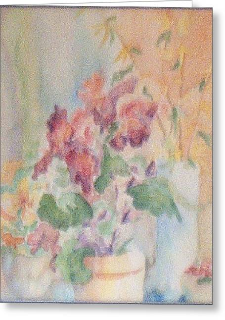 Irises And Company Greeting Card by Sheri Hubbard