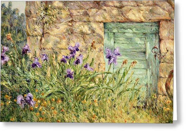 Irises At The Old Barn Greeting Card
