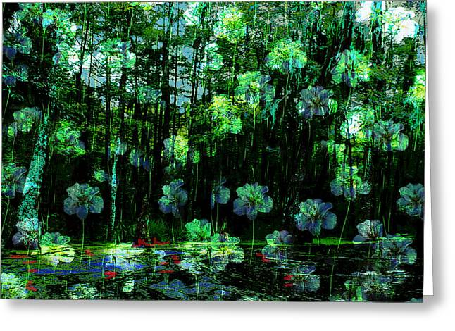 Irises Falling From A Southern Sky  Greeting Card by Paul Sutcliffe