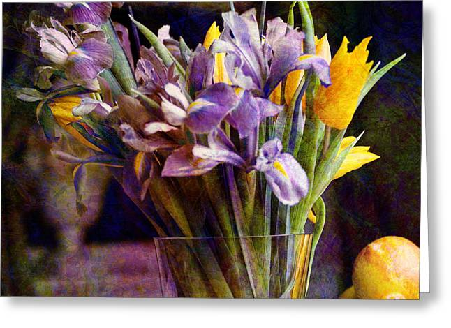 Irises In A Glass Greeting Card