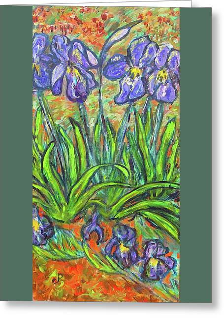 Irises In A Sunny Garden Greeting Card by Carolyn Donnell