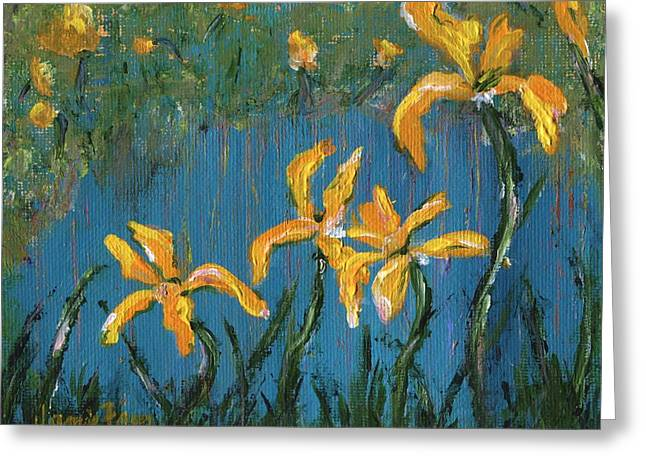 Greeting Card featuring the painting Irises by Jamie Frier
