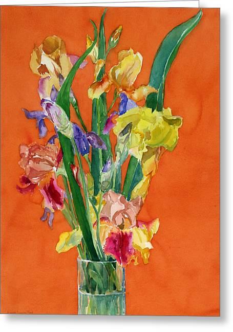 Irises Greeting Card by Martha Zausmer paul