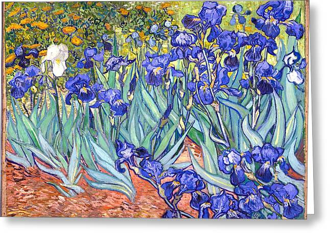 Greeting Card featuring the painting Irises by Van Gogh