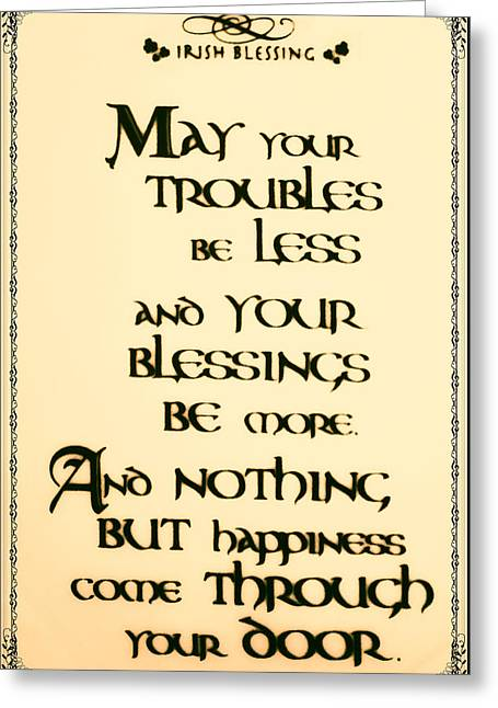 Irish Blessing Greeting Card by Bill Cannon