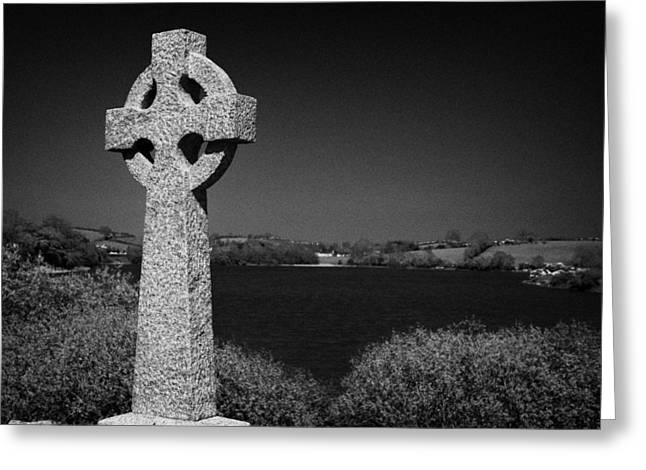 Irish Celtic Cross Overlooking Lake Greeting Card by Joe Fox
