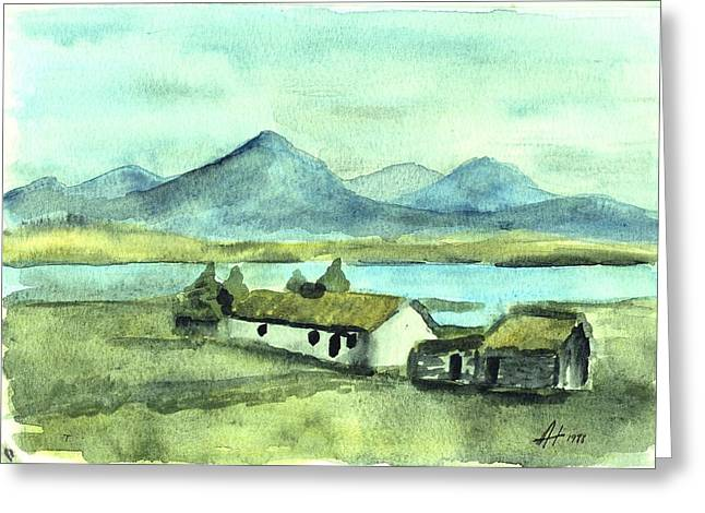 Irish Cottage Greeting Card by Alan Hogan